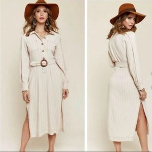 Free People Neutral Striped Audrey Maxi Dress Size